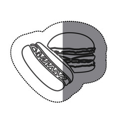 Silhouette hot dog and hamburger icon vector