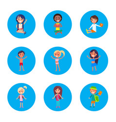 small students portraits isolated on white poster vector image