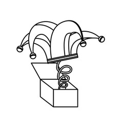 Surprise box with harlequin hat isolated icon vector