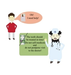 The patient asks the doctor to help cure a tooth vector