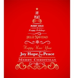 Vintage Christmas tree with text and elements vector image