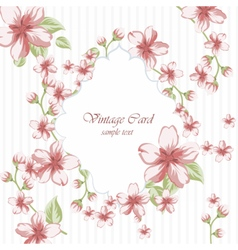 Watercolor pink flowers frame on retro polka dots vector