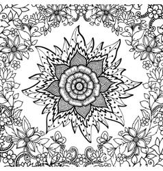 Zen tangle flower mandala vector