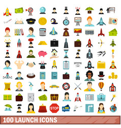 100 launch icons set flat style vector image