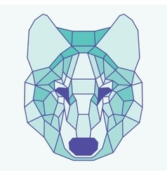 Green lined low poly wolf vector