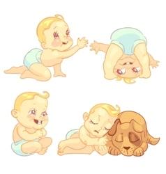 Cute baby in diaper character set vector image