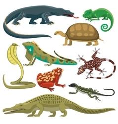 Reptiles animals set vector