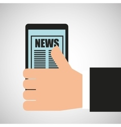 Hand holding mobile news broadcast vector