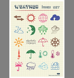 Weather web icons set drawn by color pencils vector