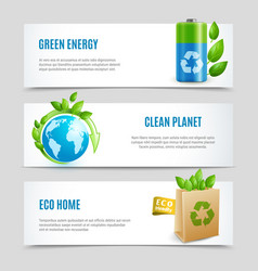 Ecology horizontal banners in paper design vector