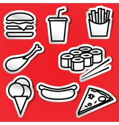 Fastfoodset stickers vector