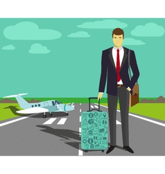 Businessman at take-off runway vector