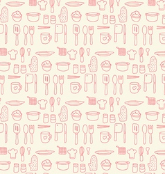 Doodle kitchen seamless pastel color background vector
