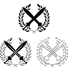 Set of crossed swords with laurel wreaths vector