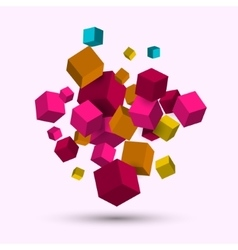 3d cubes geometric background with cubes vector image