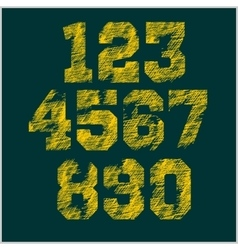 Vintage numbers set in grunge style vector