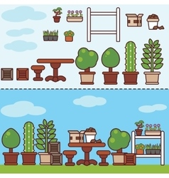 Village garden with furniture and plants vector