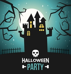Halloween with castle and text halloween party vector