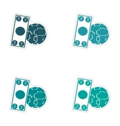 Set of stylish sticker on paper money and earth vector