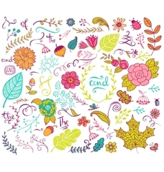 Floral design elements in doodle style vector