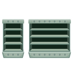 Two vintage racks with empty shelfes vector