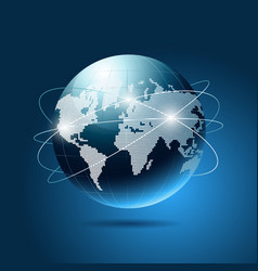 Modern blue globe network vector