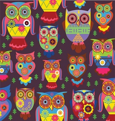 cartoon owl pattern dark background vector image