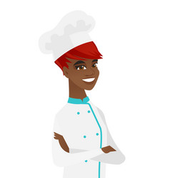 African-american confident chef with folded arms vector