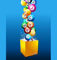 bingo jackpot balls on a box over blue background vector image