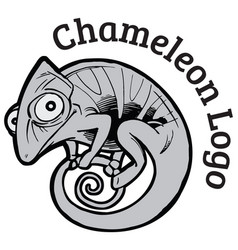 Black and white chameleon logo template vector