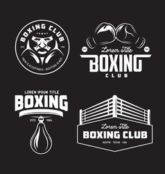 boxing club labels set vintage vector image vector image