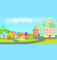 City houses horizontal banner types cartoon style vector