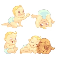 Cute baby in diaper character set vector image