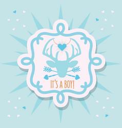 cute blue its a boy deer emblem sticker card vector image