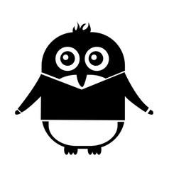 Cute penguin with jacket kawaii character vector