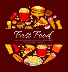 Fast food round symbol for takeaway menu design vector