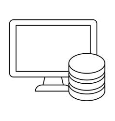 figure connected computer databese server banner vector image