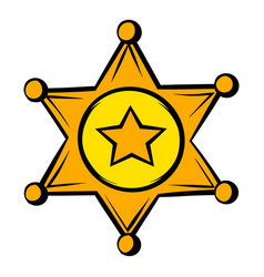 Golden sheriff star badge icon icon cartoon vector
