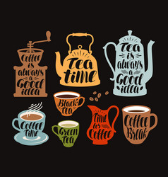 hot drinks tea coffee label set collection vector image vector image