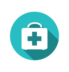 icon of medicine chest with long shadow in flat vector image