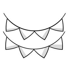 Line cute party flag decoration design vector