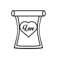 Love parchment message heart outline vector