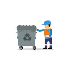 man with garbage box vector image