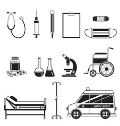 Medical equipment icons set monochrome vector