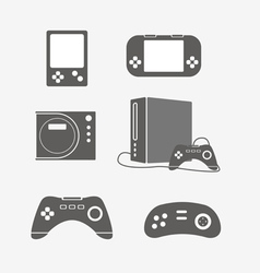 Modern portable game console silhouettes vector