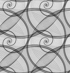 Monochrome wired spiral pattern fractal vector image vector image