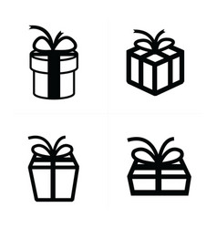 set black gift icons 4 style vector image