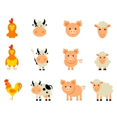 Set of isolated Farm Animals vector image