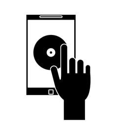 Silhouette hand hold smartphone music application vector