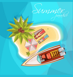 Sunbathers on island composition top view vector